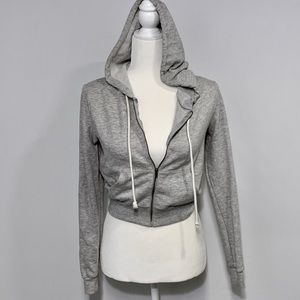 MOSIMO CROPPED ZIP UP HOODIE GRAY